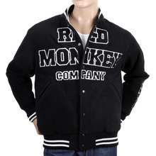 RMC Jeans Vintage Regular Fit Varsity Baseball Jacket in Black And White REDM3116