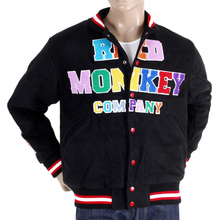 RMC Jeans x Yoropiko Mens Quilted Regular Fit Vintage Baseball Varsity Jacket in Black REDM3117