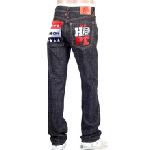 RMC Jeans Black Raw Selvedge Jeans with Super Exclusive Obama Yes We Can NEW HOPE Embroidery REDM3118