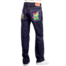 RMC Jeans Exclusive Vintage Cut LUCKY CAT Embroidered Dark Indigo Raw Selvedge Denim Jeans REDM3255