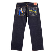 RMC Jeans Vintage Cut Dark Indigo Raw Selvedge Denim Jeans with SUPERMAN SUPERMC Embroidery REDM3698