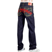 RMC Jeans Exclusive Side Monkey Embroidered Genuine Raw Selvedge Vintage Cut Denim Jeans REDM6210
