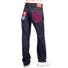 RMC Jeans Exclusive Rock Tsunami Wave Embroidered Genuine Raw Selvedge Vintage Cut Denim Jeans REDM6214