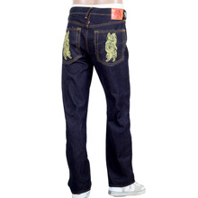 RMC Jeans Authentic Exclusive God of Golden Brother Embroidered 2007 Vintage Raw Selvedge Jeans REDM9064