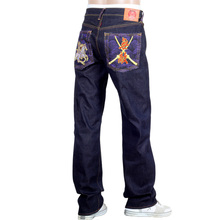 RMC Jeans Dark Indigo Genuine Exclusive Horse and Sword Embroidered Vintage Raw Selvedge Jeans REDM9070