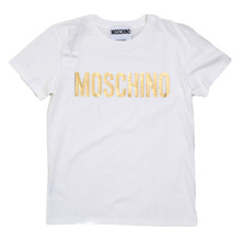 Moschino Short Sleeve Gold Logo Printed Regular Fit Cotton T shirt in White MOSM5337