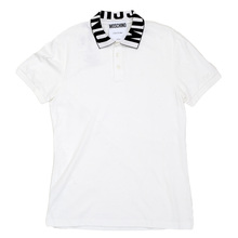 White Three-Buttoned Regular Fit Polo Shirt with Black Logo Ribbed Collar by Moschino MOSM5342