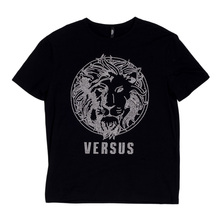 Versace Versus Short Sleeve Crew Neck Regular Fit T Shirt for Men with Silver Rhinestone Lion Head Design VERS4787
