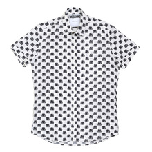 Moschino Regular Fit White Short Sleeve Jacquard Biker Jacket Printed Shirt for Men MOSM4803