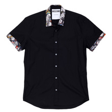 Moschiono Short Sleeved Regular Fit Black Shirt with Printed Collar and Sleeve Cuffs MOSM4802