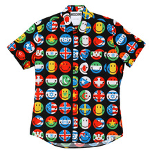 Moschino Multi Coloured Short Sleeved Flags on Smiley Face Printed Shirt with Single Chest Pocket MOSM4804