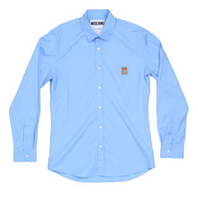 Moschino Sky Blue Long Sleeve Slim Fit Shirt with Teddy Bear Embroidered on Chest MOSM5332