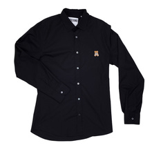 Black Cotton Long Sleeve Slim Fit Shirt by Moschino with Teddy Bear Embroidery on Chest MOSM5333