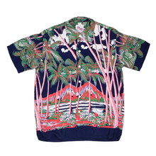 Sun Surf DK36202 Duke Kahanamoku Coconut Palms & Duamond Head Rayon Hawiian Shirt in Navy SURF0028