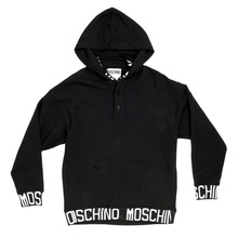 Moschino 3 Button Black Sweatshirt with a Hood, 2 Front Pockets, and White Woven Text Logo MOSM5347