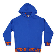 Moschino Blue Regular Fit Sweatshirt with  2 Front Pockets, a Hood, and Orange Woven Text Logo MOSM5346