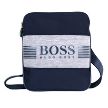 Hugo Boss Green Pixel 50327876 Top Envelope Zip Closure Navy Messenger Bag with Front Logo BOSS6945