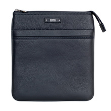 Hugo Boss Grain Leather 50311778 Top Zip Closure Traveller Bag in Black with Adjustable Strap BOSS6608