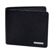 Hugo Boss Black Signature 50311738 Grain Leather Wallet in Black with 4 Credit Card Slots BOSS6607