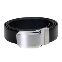 Hugo Boss Black 50327678 Otello Silver Metal Buckle Reversible Black Leather Belt with Pointed Belt Tip BOSS6943