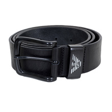 Armani Jeans Mens Black Leather Casual Belt with Silver Signature Eagle Logo on Belt Loop AJM6480