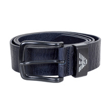 Armani Jeans Dark Navy Blue Leather Casual Belt for Men with Crinkle Effect Leather and Pointed Belt Tip AJM6481