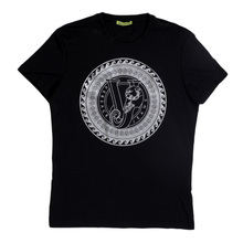 Crew Neck Short Sleeve T Shirt in Black from Versace Jeans with Silver Printed Chest Logo VERS6154