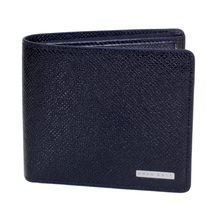 Hugo Boss Signature Grain Leather 50311738 Wallet for Men in Dark Blue with 4 Credit Card Space and Coin Pouch BOSS6944