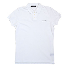 Dsquared2 Regular Fit Short Sleeve White Polo Shirt with 3 Button Design and Raised Brand Logo DSQ6283