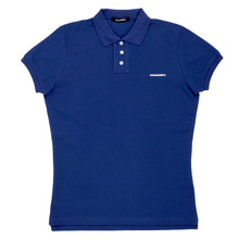 Dsquared2 Cotton Pique Polo Shirt in Blue with Three Button Design and Brand Chest Text Logo DSQ6285