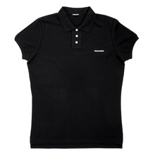 Mens Three Button Regular Fit Pique Short Sleeve Polo Shirt in Black with Raised White Brand Logo DSQ6284