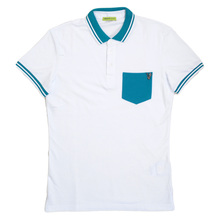 Versace Jeans Cotton White Polo for Men with Blue Chest Pocket, Ribbed Collar and Sleeve Cuffs VERS6163
