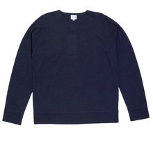 Giorgio Armani Collezioni Long Sleeve Navy Regular Fit Knitted Crew Neck Jumper with Ribbed Collar GAM0594