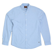 Regular Fit Sky Blue Diamond Polka Dot Shirt from Scotch and Soda with Long Sleeves and Rounded Tail SCOT5590
