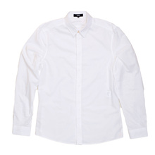 Versace Long Sleeve White Slim Fit Shirt with Zips on Side Seams and Text Logo Embroidered Placket VERS4797
