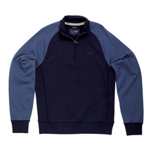 Armani Jeans Half Zip High Neck Navy Raglan Long Sleeve Sweatshirt with Ribbed Cuffs and Waistband AJM5146