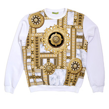 Versace Crew Neck Long Sleeve Sweatshirt in White Styled with Kaleido Printed Design in Gold and Black VERS6168