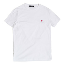 DSquared2 Crew Neck Regular Fit Cotton White T Shirt with Black Text Logo on Chest DS26290