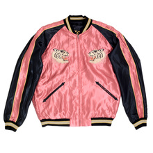 Sugar Cane Tailor Toyo Fully Reversible Pink and Black Regular Fit Suka Jacket for Men with Tiger Embroidery TOYO7526A
