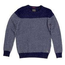 Scotch and Soda Jacquard Patterned Crew Neck Regular Fit Navy Jumper for Men SCOT5606