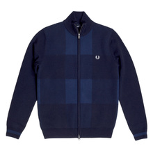 Navy Wool and Cotton Mix Full Zip Front Knitted Cardigan with Laurel Leaf Chest Logo by Fred Perry FPRY6738