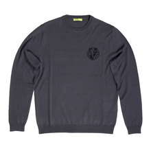 Versace Darker Grey Crew Neck Regular Fit Wool Mix Sweater for Men with Embroidered Logo on Chest VERS6711