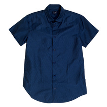 Armani Jeans Blue Woven Cotton Short Sleeve Shirt for Men with Self Coloured Mini Dot Jacquard Pattern AJM5987