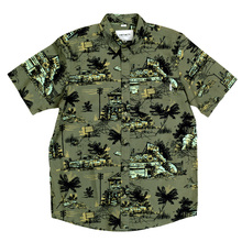 Carhartt Green Short Sleeve Shirt for Men in Slimmer Fit with Button Down Collar and Homerun Print CARH6309