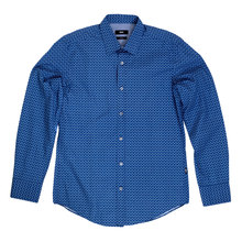 Slim Fit Long Sleeve Blue Ronny Boss Black Shirt for Men with Diamond Jacquard Pattern BOSS5021