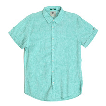 Scotch and Soda Aqua Linen and Cotton Mix Regular Fit Short Sleeve Shirt for Men with Soft collar SCOT4857