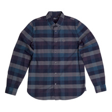 Fred Perry Navy Regular Fit Textured Gingham Long Sleeve Shirt for Men with Soft Button Collar FPRY5677