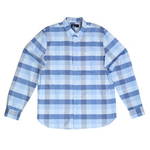 Fred Perry Light Blue Regular Fit Textured Gingham Long Sleeve Shirt for Men with Soft Button Collar FPRY5676