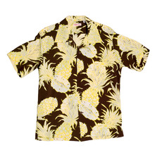Sun Surf Brown Short Sleeve Regular Fit Hawaiian Shirt for Men with Yellow Island Pineapple Print SURF7532