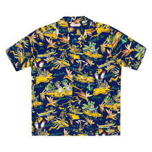 Sun Surf Rayon Cuban Collared SS37771 Regular Fit Short Sleeve Navy Hawaiian Shirt with Hawaiian Hula Print SURF8585